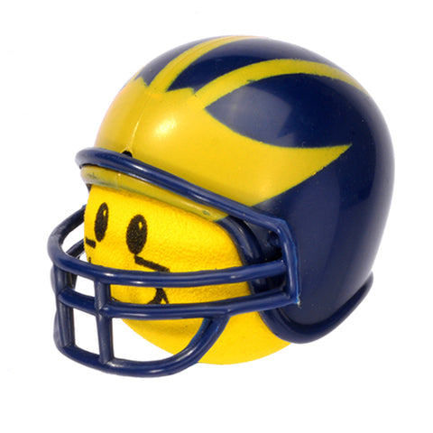 Michigan Wolverines Helmet Head Team Car Antenna Topper / Desktop Bobble Buddy (College Football)(Yellow Face)