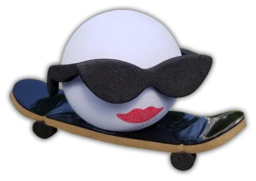Coolballs Cool Skate Chick Skateboarder Car Antenna Topper / Desktop Bobble Buddy