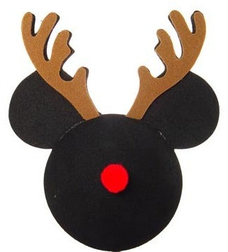 "Mickey Head ""Reindeer"" Car Antenna Topper / Desktop Spring Stand Bobble Buddy"