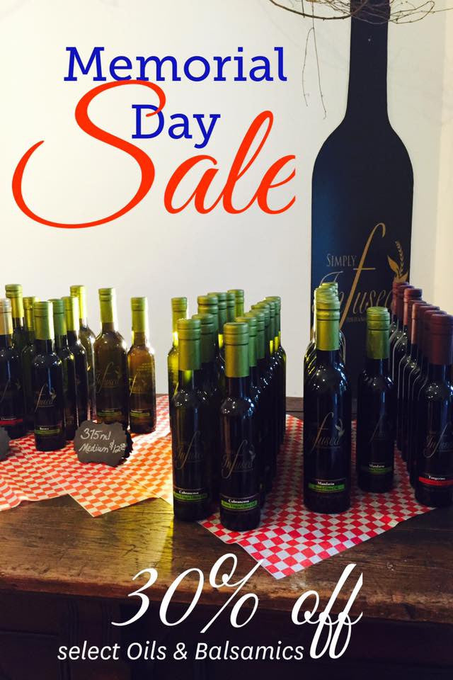 Memorial Day Sale!  30% off select Extra Virgin Olive Oils & Balsamics