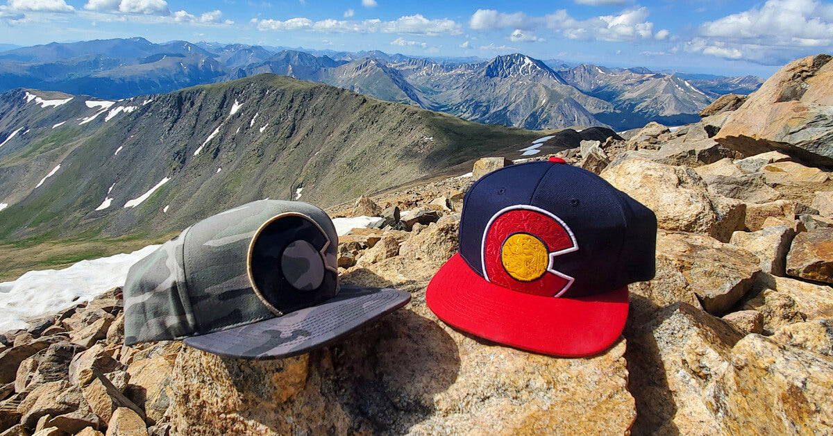 Mt Elbert Summit Colorado Flag Hats