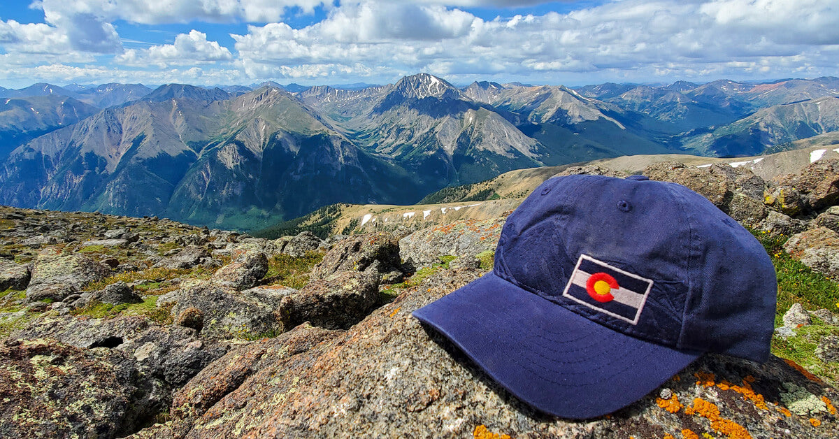 Mt Elbert South Colorado Flag Hat with Mountains