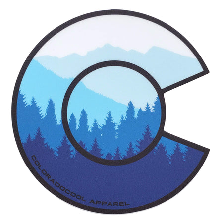 Layered Mountain Sticker - Colorado Flag Sticker - Blue