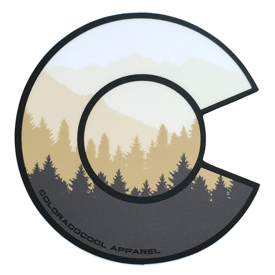 Layered Mountain Sticker - Colorado Flag Sticker - Khaki