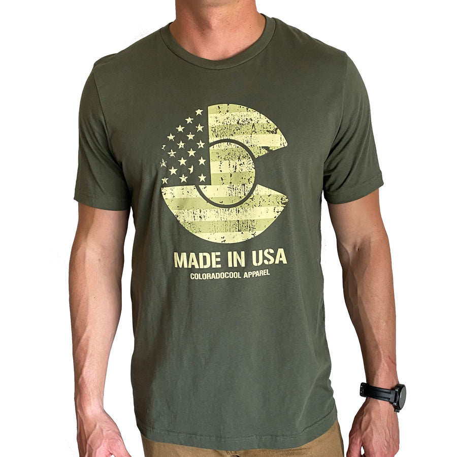 CO USA T-Shirt - Military Green - Made in USA