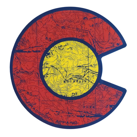 Colorado Flag Sticker - Topo Map