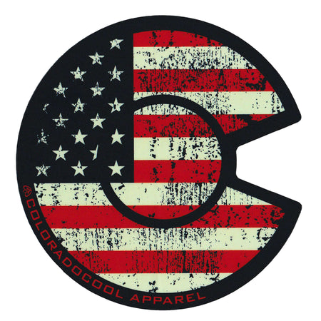 Colorado USA American Flag Sticker