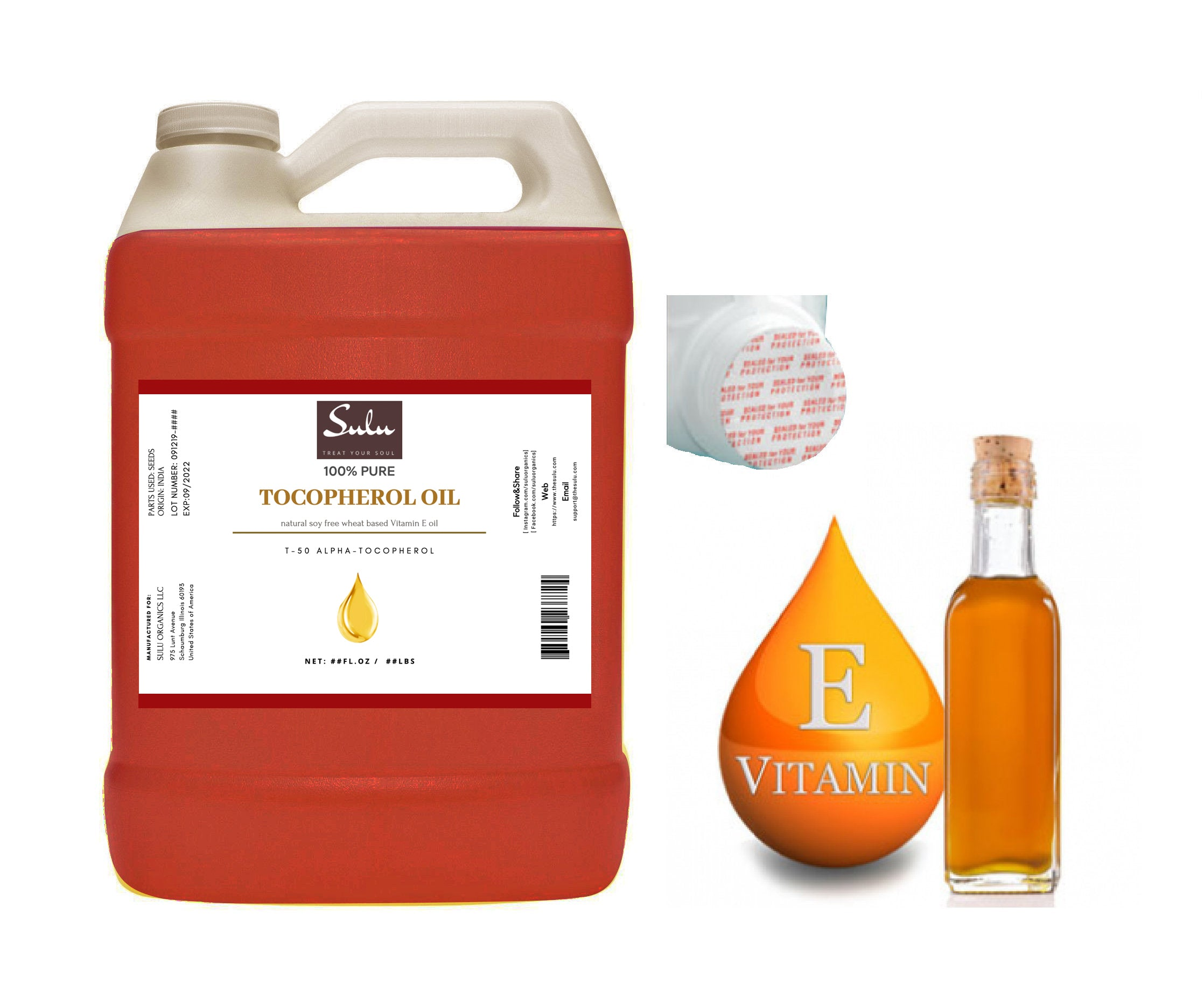 4 Lbs 100% Pure and Natural  T-50 Tocopherols Vitamin E Oil