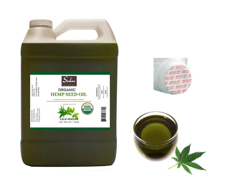 7 lbs 100% Pure Cold Pressed Organic Unrefined Extra Virgin Hemp seed oil