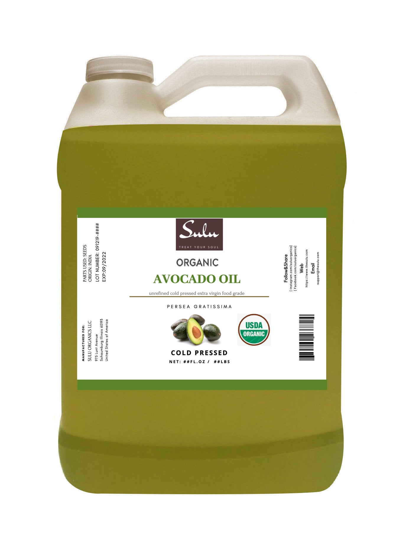 4 lbs  Extra Virgin Cold Pressed Fresh Avocado Oil 100% pure high quality oil