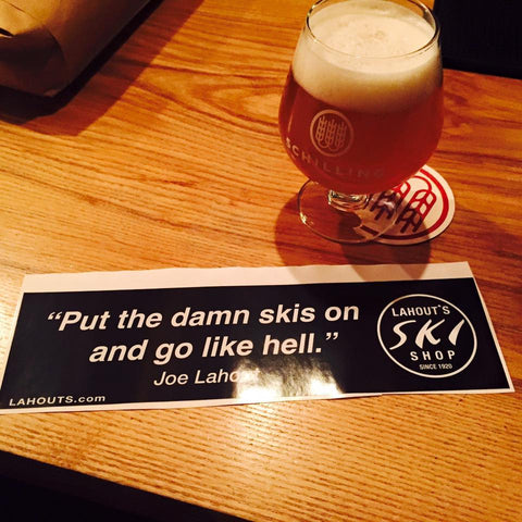 ''Damn skis on..'' Bumper Sticker