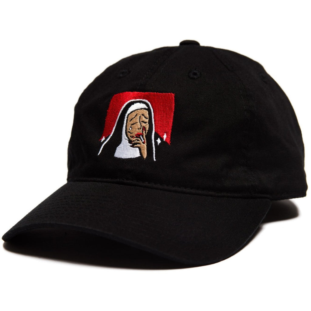 6-panel unconstructed Cotton black cap featuring Bad Nun design embroidery on the front and Bled embroidered on the side. Smoking Nun, Sin, Hat, skateboards, hype, skate, streetwear