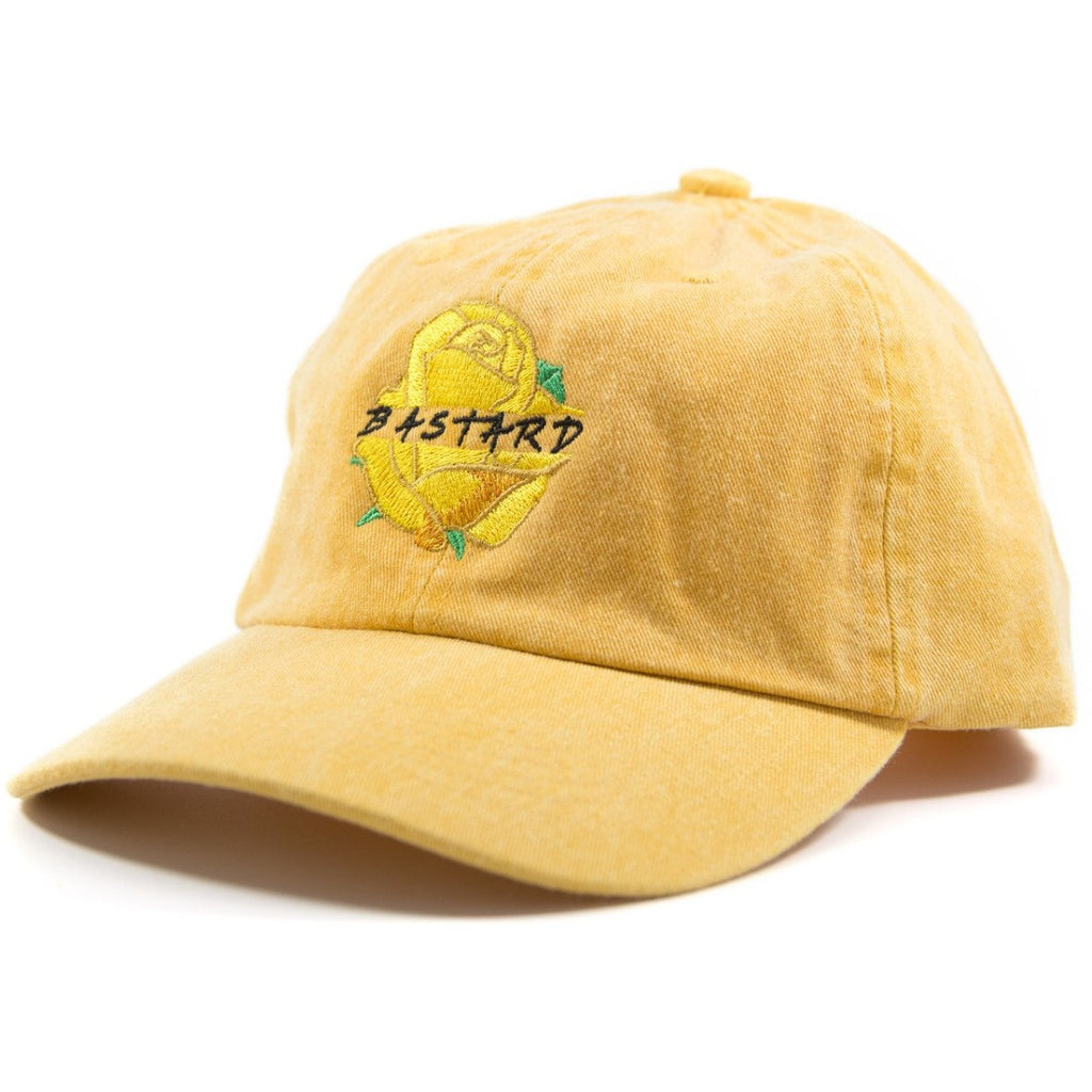 6-panel unconstructed Cotton washed yellow dad hat featuring red rose with bastard text embroidery on the front and Bled logo embroidered on the back with adjustable strap, skateboarding, hype, streetwear, skateboards
