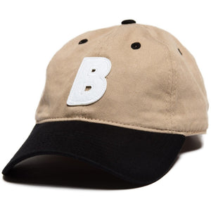 6-panel unconstructed Cotton tan beige black dad hat featuring BLED letter logo felt patch on the front and BLED logo embroidered on the back with adjustable strap closure. skate, skateboarding, hype, streetwear