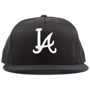 Five-panel black cotton/poly snapback featuring custom A.T.L.A. design in 3D embroidery on crown and Bled logo on the back. Los Angeles Dodgers Atlanta Braves, skateboards, hype, streetwear