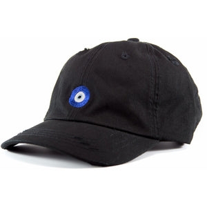 6-panel unconstructed 100% Cotton black distressed dad hat featuring evil eye embroidery on the front and Bled logo embroidered on the back. Third Eye Hat