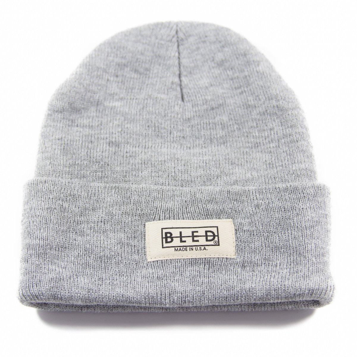 100% acrylic beanie in heather grey featuring twill Bled label on the front, skateboards, skate, hype, streetwear, skateboarding