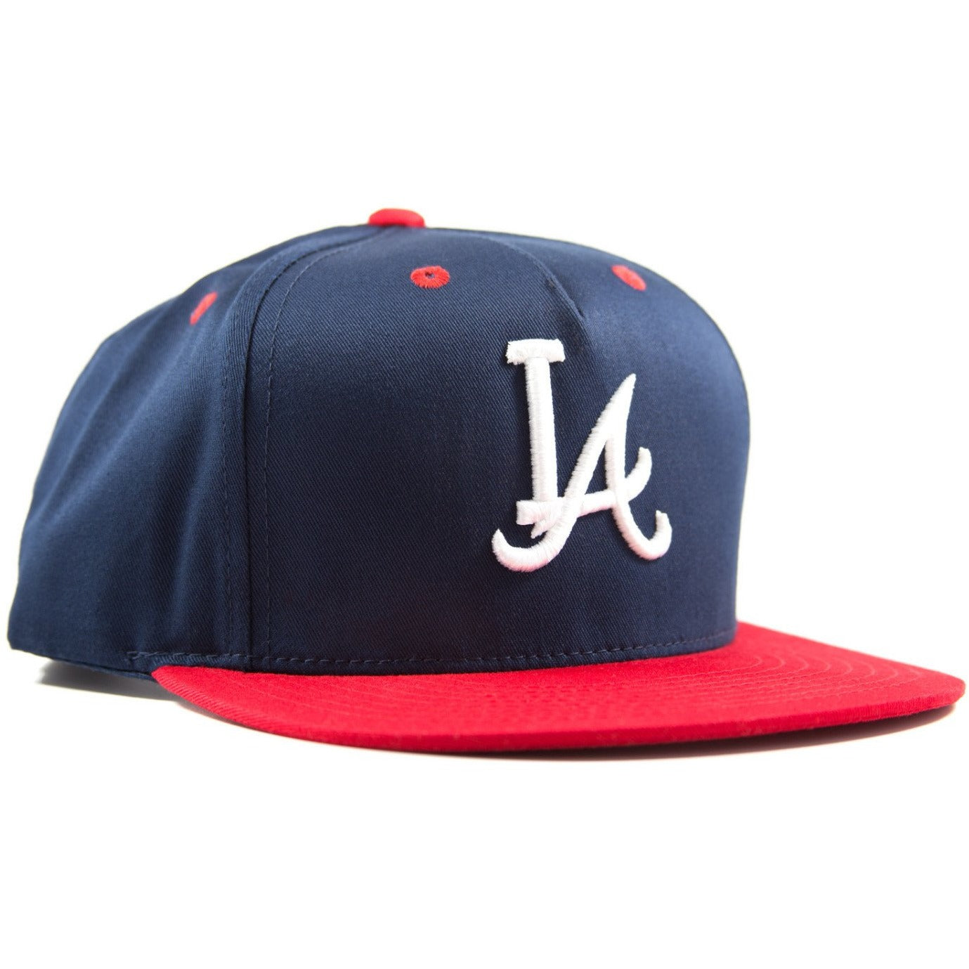 Five-panel navy & red cotton/poly snapback featuring custom A.T.L.A. design in 3D embroidery on crown and Bled logo on the back. Los Angeles Dodgers Atlanta Braves, skateboards, hype, streetwear