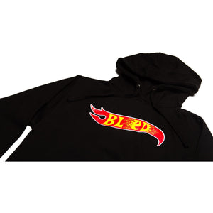 Pull over hoodie in black featuring Bled wheels print on the front. 80% cotton polyester True to size fit. Box Logo, Jacket, Flames Hot Wheels, hype, fire, skateboard, skate