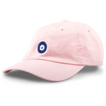 6-panel unconstructed 100% Cotton pink dad hat featuring evil eye embroidery on the front and Bled logo embroidered on the back. Third Eye Hat