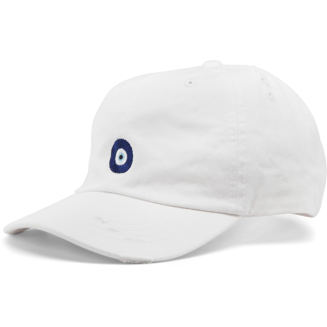 6-panel unconstructed 100% Cotton white dad hat featuring evil eye embroidery on the front and Bled logo embroidered on the back. Third Eye Hat