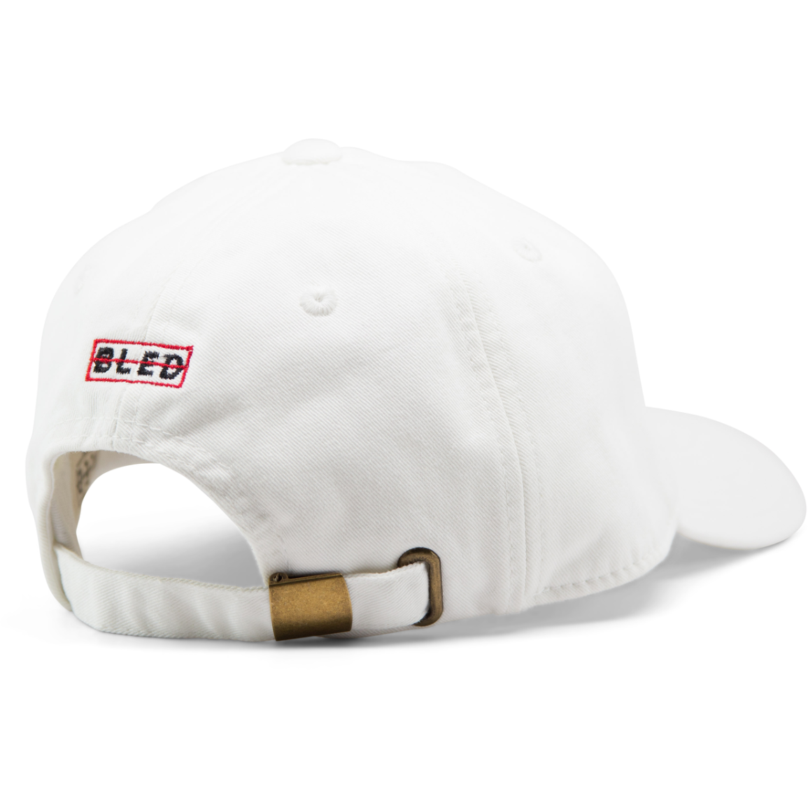 6-panel unconstructed 100% Cotton white dad hat featuring Levels design embroidery on the front and Bled logo embroidered on the back with adjustable strap closure.