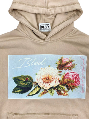 bled clothing bledwear good fortune prosperity floral flower ladybug stonewash hoodie beige tan streetwear hype mens