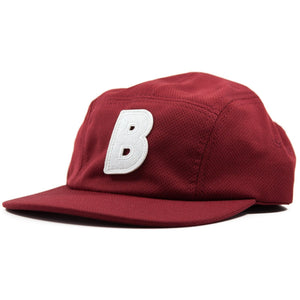 5-panel unconstructed mesh polyester burgundy hat featuring BLED letter logo felt patch on the front and BLED logo embroidered on the back with adjustable strap, skateboards, hype, skate, streetwear