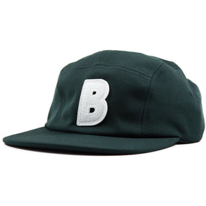 5-panel unconstructed mesh polyester green hat featuring BLED letter logo felt patch on the front and BLED logo embroidered on the back with adjustable strap, skateboards, hype, skate, streetwear