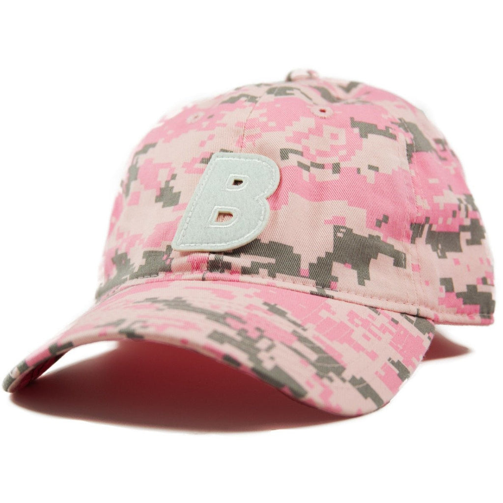 6-panel unconstructed Cotton digital pink dad hat featuring BLED letter logo felt patch on the front and BLED logo embroidered on the back with adjustable strap closure. skate, skateboarding, hype, streetwear