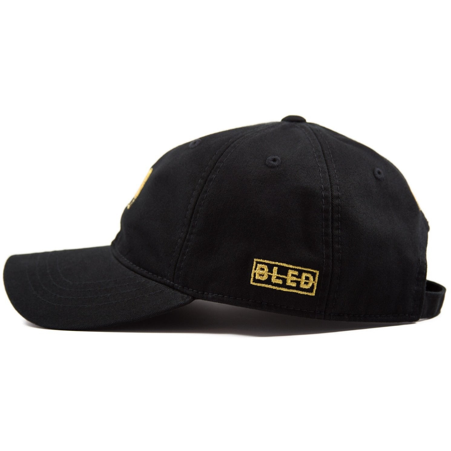 6-panel unconstructed 100% Cotton black dad hat featuring Levels design embroidery on the front and Bled logo embroidered on the back gold with adjustable strap closure.