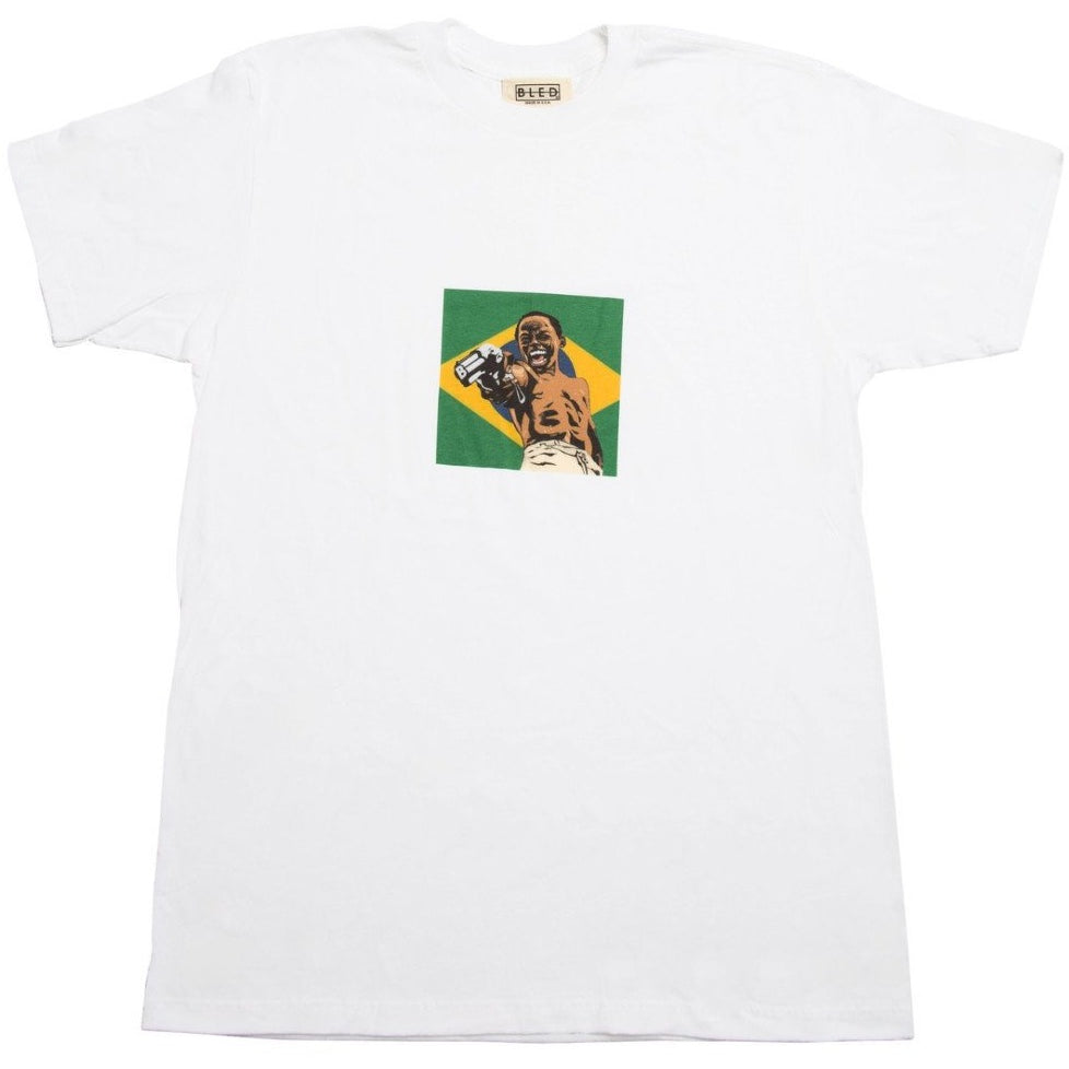 Bled City of God t-shirt featuring a Brazilian flag & Lil Ze blowing someones brains out on the front, but peep the barrel my child. Hype, Streetwear, skate, skateboarding, skateboards