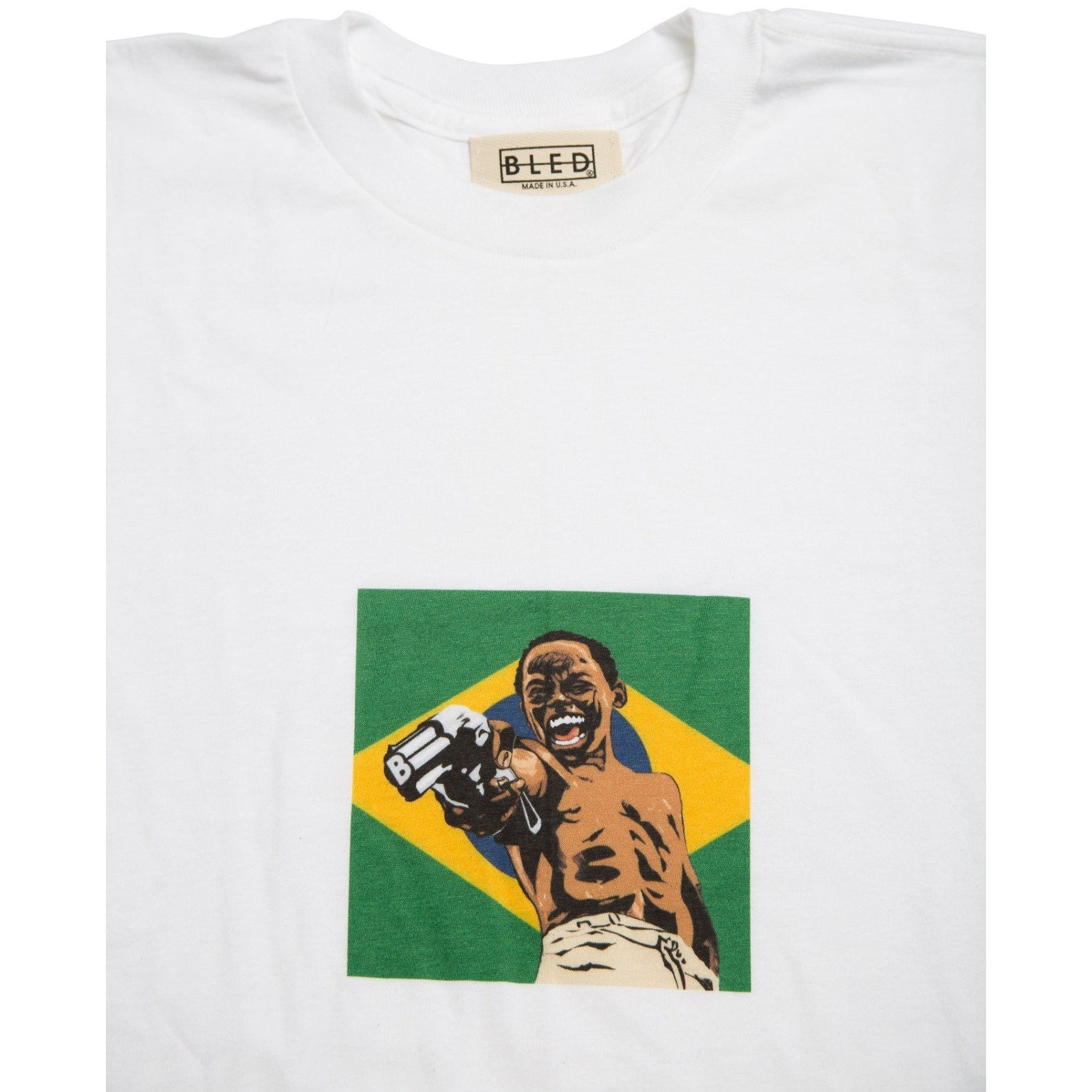 Bled City of God t-shirt featuring a Brazilian flag & Lil Ze blowing someones brains out on the front, but peep the barrel my child. Hype, Streetwear, skate, skateboarding, skateboards, streetwear