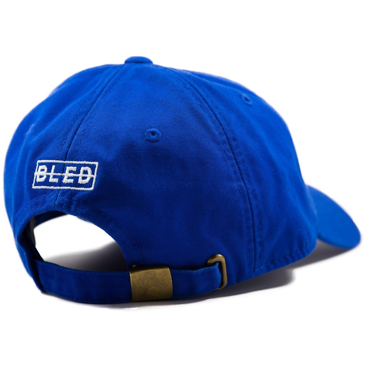6-panel unconstructed Cotton royal blue dad hat featuring BLED letter logo felt patch on the front and BLED logo embroidered on the back with adjustable strap closure. skate, skateboarding, hype, streetwear