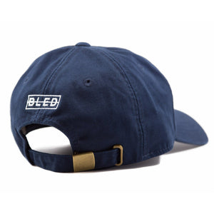 6-panel unconstructed Cotton navy dad hat featuring BLED letter logo felt patch on the front and BLED logo embroidered on the back with adjustable strap closure. skate, skateboarding, hype, streetwear