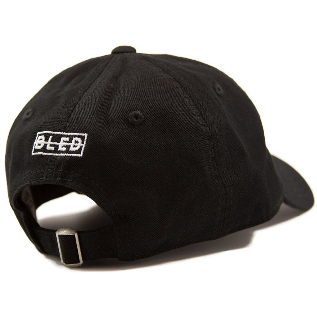 6-panel unconstructed Cotton black dad hat featuring red rose with bastard text embroidery on the front and Bled logo embroidered on the back with adjustable strap, skateboarding, hype, streetwear, skateboards