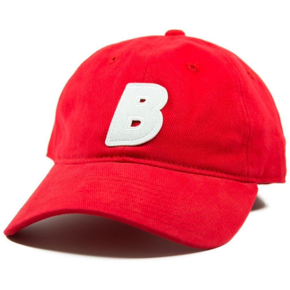 6-panel unconstructed Cotton red corduroy dad hat featuring BLED letter logo felt patch on the front and BLED logo embroidered on the back with adjustable strap closure. skate, skateboarding, hype, streetwear