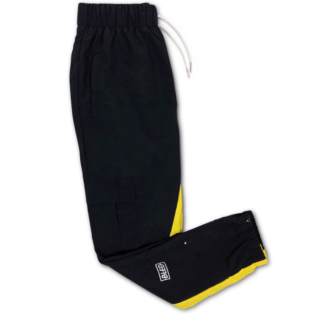 Bled Stealth Cargo Tracksuit Pant Bledwear Streetwear Hypebeast Black Yellow