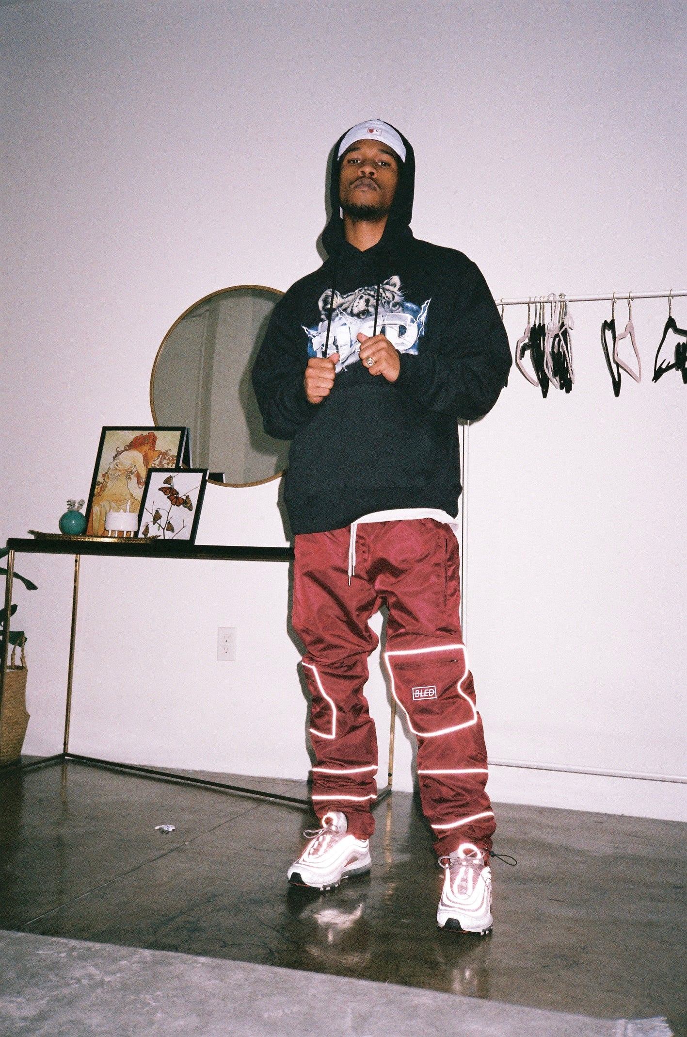 bled clothing, reflective pant, reflective track pant, bled pant, 3m pant, track pants, streetwear, reflective trousers, reflective sweatpant, hypebeast, bled fashion, bled los angeles, burgundy