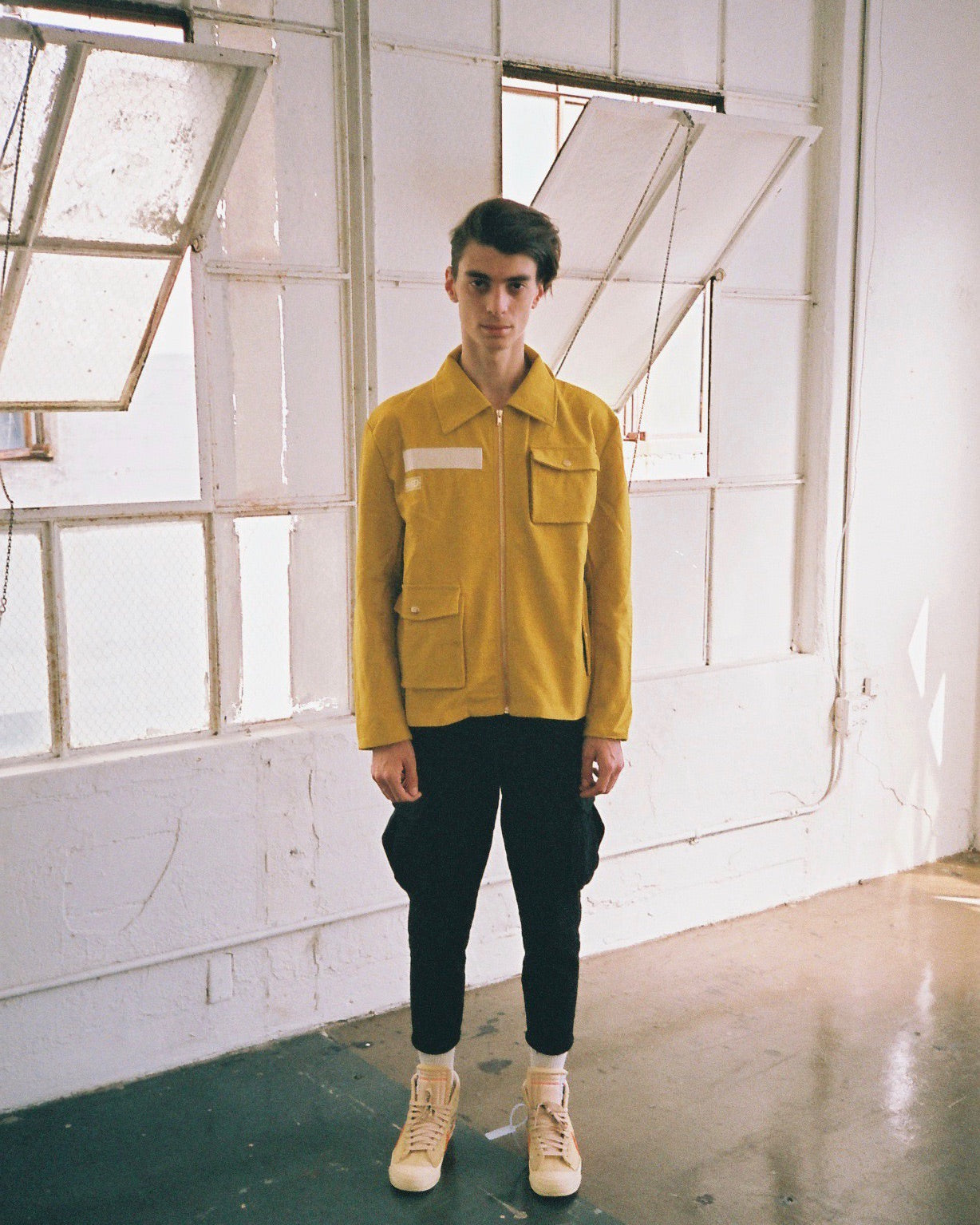 bled clothing bledwear twill cotton cargo pocket jacket mustard mens streetwear hype