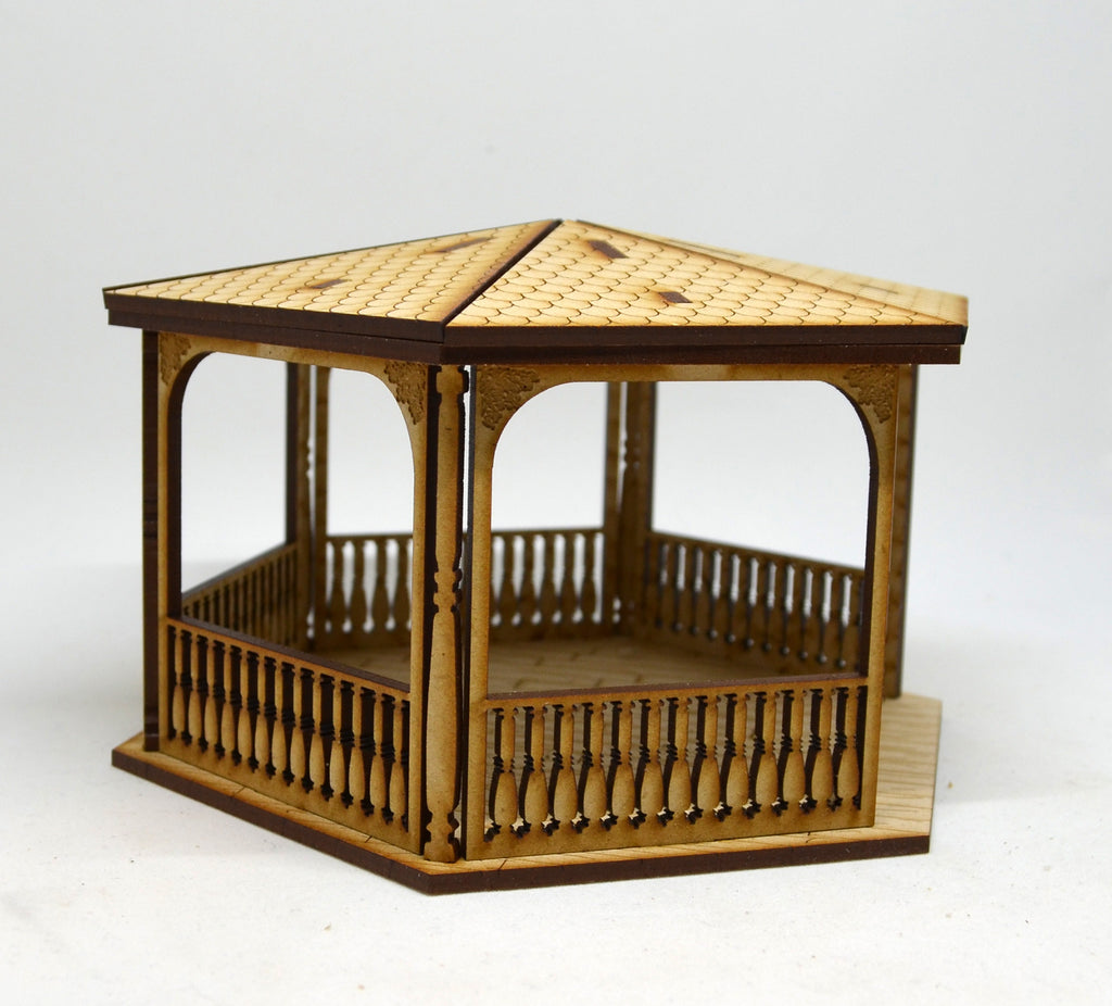 Pitchford Gazebo with Fountain 1 square and 1 rectangle planter