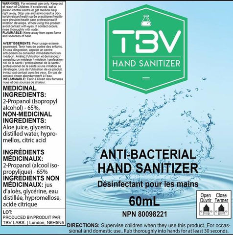 TBV Anti-Bacterial Hand Sanitizer - 60mL