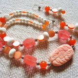 Carved Salmon Pink Coral and Sterling Silver Necklace and Earring Set
