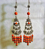 Chandelier Earrings with Red Coral and Bali Sterling Silver
