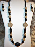 Black and Cream Lava and Agate Silver Necklace and Earring Set