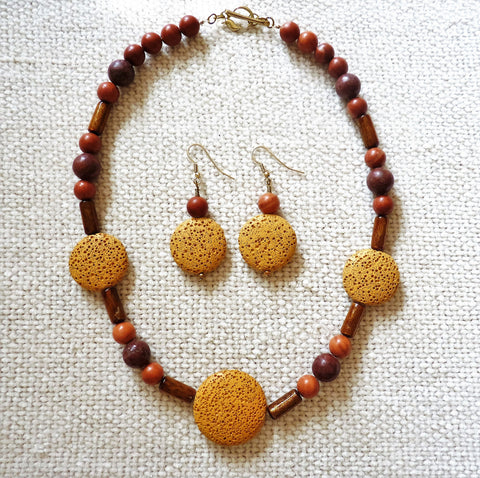 Gold Lava, Jasper & Golden Coral Brass Necklace and Earring Set