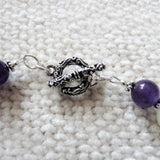 Deep Purple Amethyst and Serpentine Sterling Necklace and Earring Set