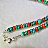 Turquoise and Coral Southwestern Style Necklace and Earring Silver Set