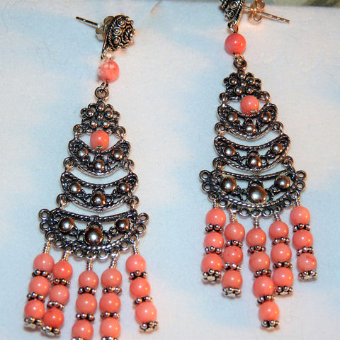Salmon Pink Coral Long Chandelier Earrings