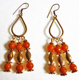 Red Agate Copper Chandelier Earrings